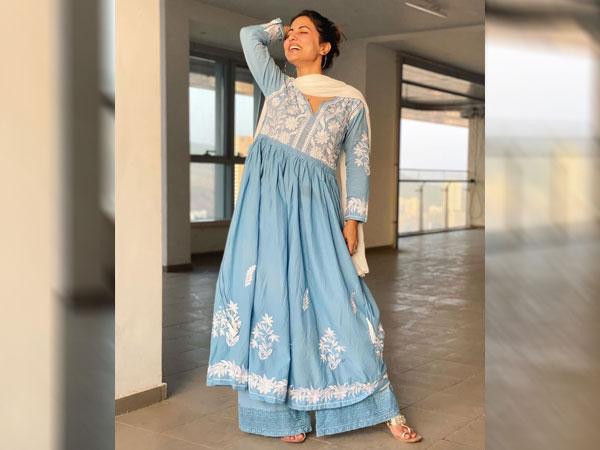 Hina Khan In A Blue Ethnic Attire
