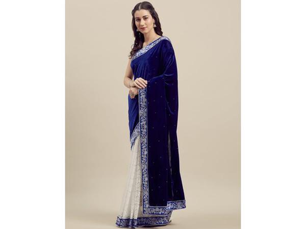 Velvet saree For School/College Farewell