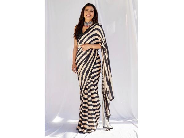 Striped saree For School/College Farewell