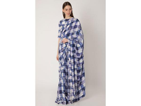 Checkered saree For School/College Farewell