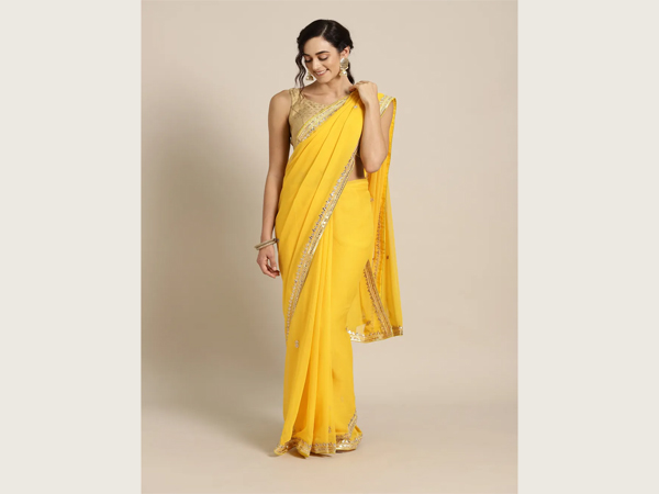 Yellow Saree For School/College Farewell