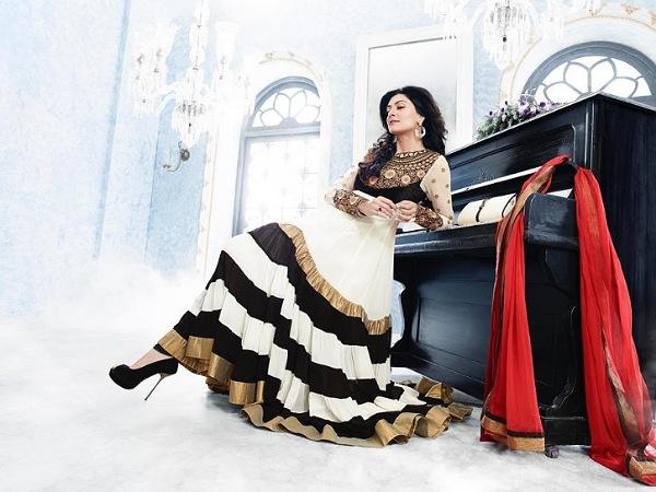 Sushmita Sen In A Black & White Anarkali