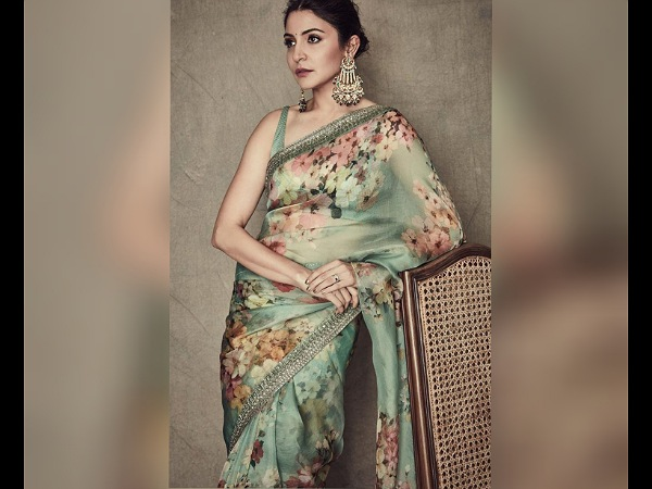 Anushka Sharma in a Green Floral chiffon Saree