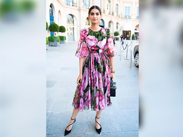 Sonam Kapoor In A Pink Floral Dress