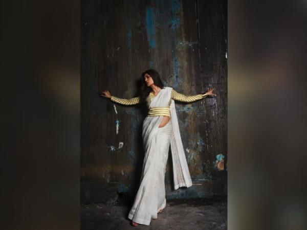 Sushmita Sen In A White Belted Saree