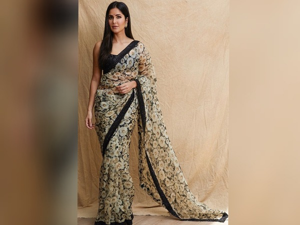 Katrina Kaif in a Black And Off-White Floral chiffon Saree