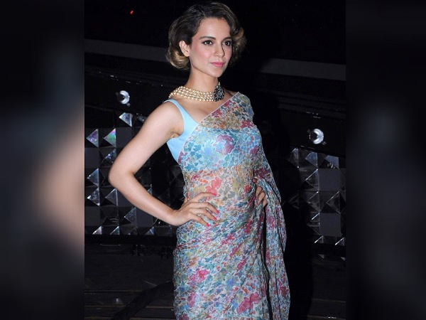 Kangana Ranaut in a Blue Printed chiffon Saree