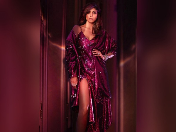 Shilpa Shetty In A Sequin Purple Dress
