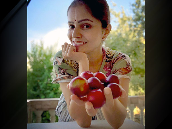 Rubina Dilaik Inspires Us With Her Comfy Outfit As She Plucks Plums From The Garden