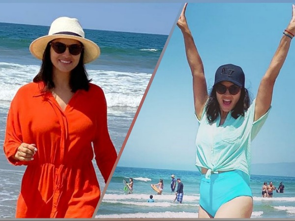Sunny Leone In Blue Shirt-Short And Orange Jumpsuit, Which Beach Outfit Of Hers Did You Like More?
