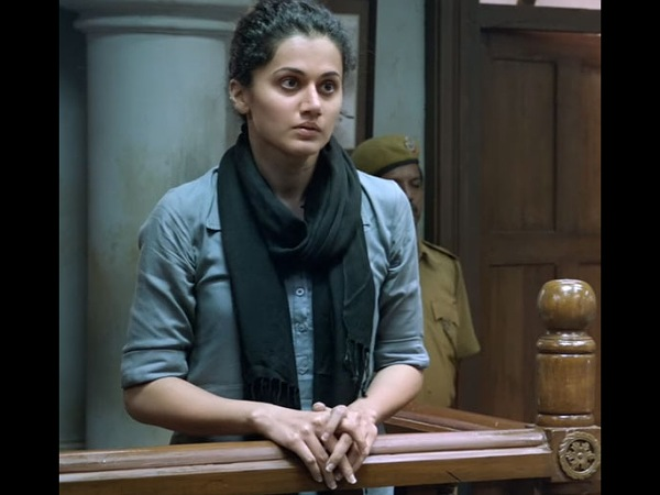 Taapsee Pannu In A Blue Shirt And Stole