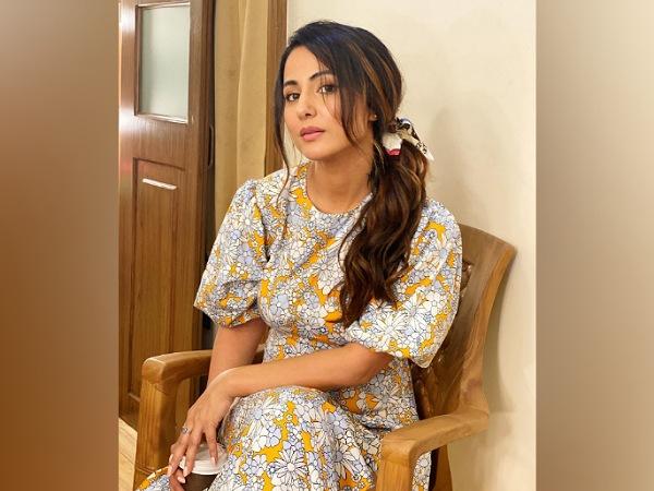 Hina Khan In A Mustard Floral Dress