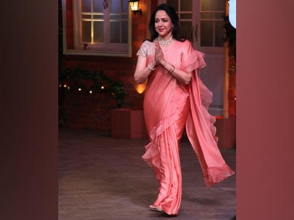 Hema Malini In A Peach Ruffle Saree