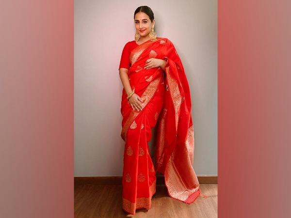 Vidya Balan In A Bright Red Banarasi Saree