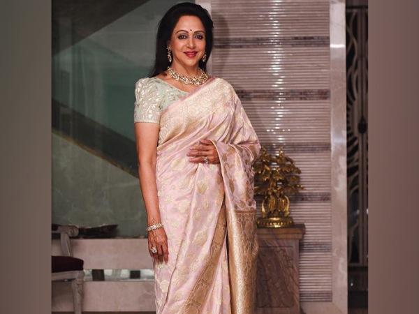 Hema Malini In A Blush-Pink Saree