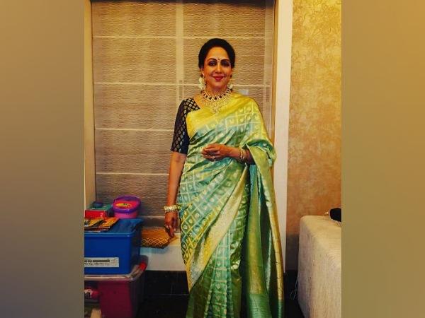 Hema Malini In A Green Saree