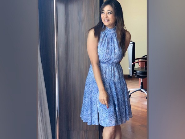 Shweta Tiwari In A Blue Printed Dress
