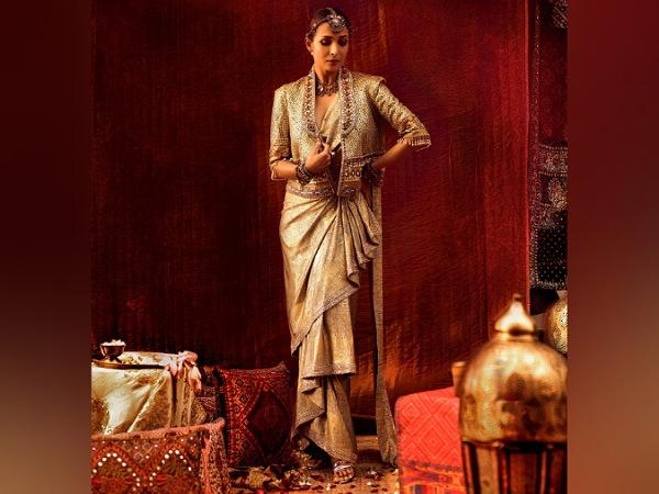 Malaika Arora In Golden Concept Saree
