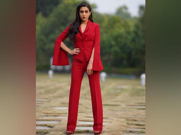 Sara Ali Khan In A Red Pantsuit