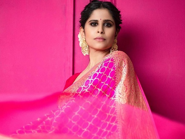 Sai Tamhankar In A Pink Silk Saree
