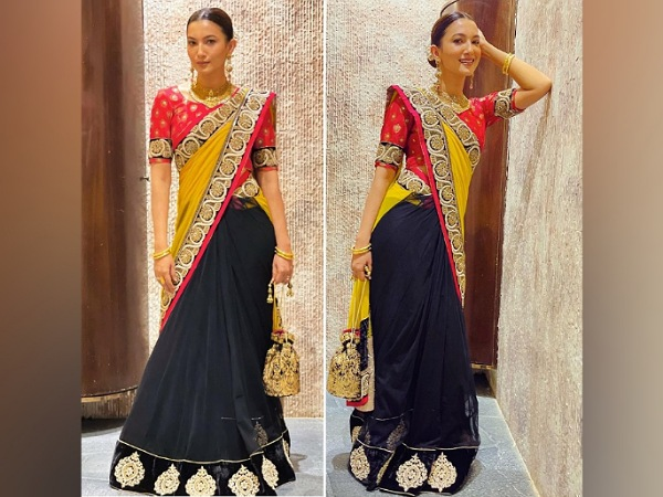 Gauahar Khan In A Three-Toned Saree
