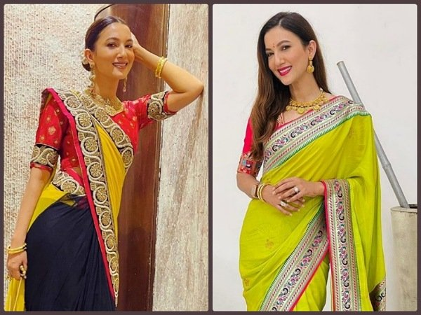 Gauahar Khan Flaunts Newly-Wed Look In Neon Yellow Saree And Three-Toned Saree, Which One Did You Like More?
