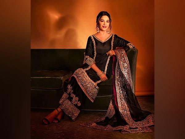 Madhuri Dixit Nene In A Black Kurta Set