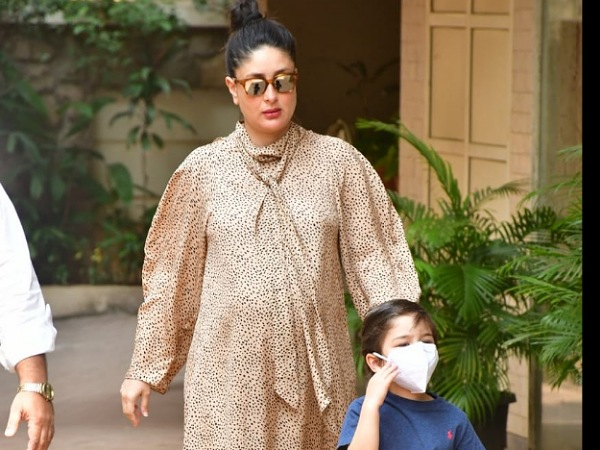 Kareena Kapoor Khan Gives Last-Minute Maternity Goal In A Printed Beige Dress As She Steps Out With Son Taimur