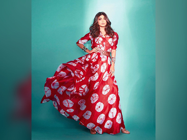 Shilpa Shetty In A Red Printed Dress