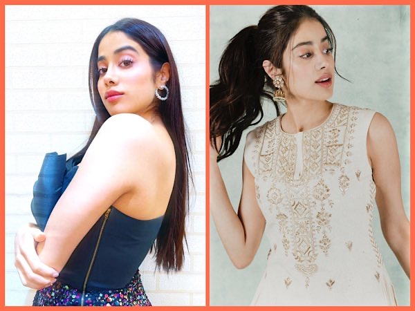 Janhvi Kapoor In An Ivory Ethnic Set And Blue Party Dress For Roohi Promotions