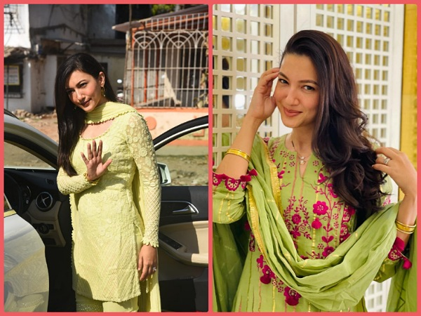 Gauahar Khan's Green Ethnic Suits On Instagram