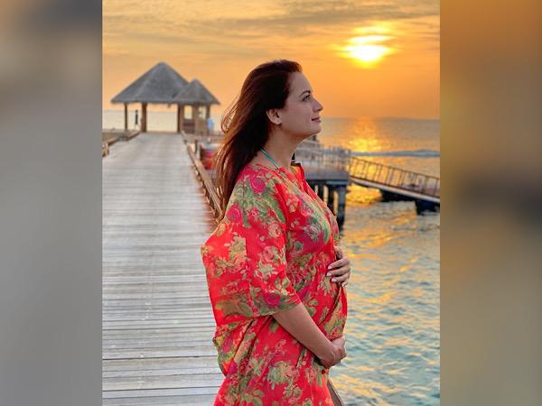 Dia Mirza Flaunts Baby Bump In Kaftan