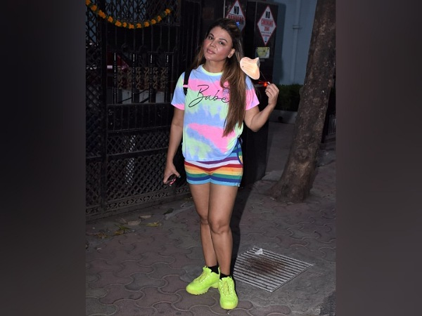 Rakhi Sawant In Tie Dye Tee And Striped Shorts