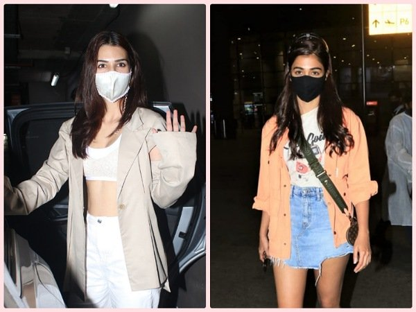 Airport Fashion: Kriti Sanon And Pooja Hegde Layer Their Outfits Right With Chic Jackets And Flaunt Style!