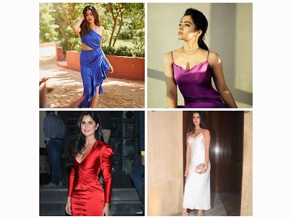 Rashmika Mandanna, Janhvi Kapoor, Katrina Kaif, And Tara Sutaria Make Us Want To Buy A Satin Slip Dress