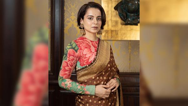 Thalaivii Screening: Kangana Ranaut Flaunts An Exquisite Saree And A Floral Blouse