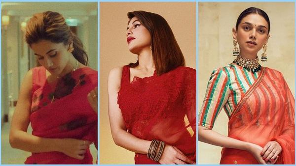 Navratri 2021: Aditi Rao Hydari, Jacqueline Fernandez, And Taapsee Pannu's Red Organza Saree Looks