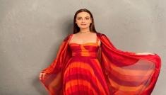 Dia Mirza In An Orange Red Printed Set