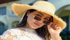 Hina Khan In A White Lace Dress And Hat