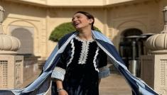 Gauahar Khan's Velvet Suit Look