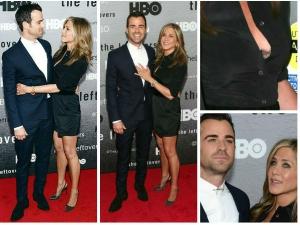 Jennifer Aniston In Lbd Flashes Black Lace Bra