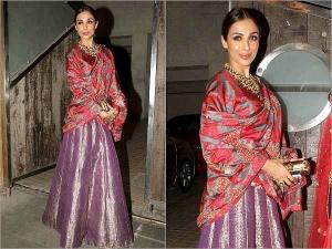 Hot Malaika Arora Khan Spotted At Saif Ali Khan Diwali Party In Raw Mango Lehenga