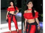 Jaqueline Fernandez Housefull 3 Party Dressed In Red Outfit