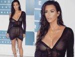 Kim Kardashian For Mtv Vmas In Black Outfit Without Bra