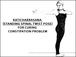Katichakrasana Standing Spinal Twist Pose For Curing Constipation Prob