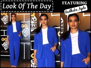 Look Of The Day Radhika Apte In Blue Pantsuit