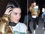 Kendall Jenner Street Style Wearing A Golden Jacket