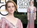 Claire Foy Wearing Pink Shimmering Gown At Golden Globes