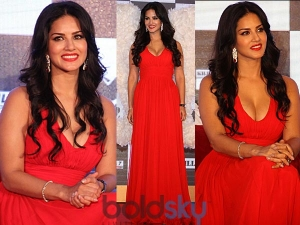 Sunny Leone Sensual In Red Gown See Pictures
