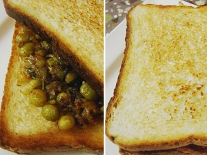 Bread Masala Peas Recipe For Breakfast